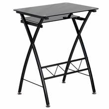 Flash Furniture Small Modern Computer Desk with Glass Top
