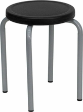 Flash Furniture Stack Stool with Black Seat and Silver Powder Coated Frame