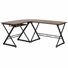 Flash Furniture Teakwood Laminate L Shaped Glass Computer Desk with Keyboard Tray