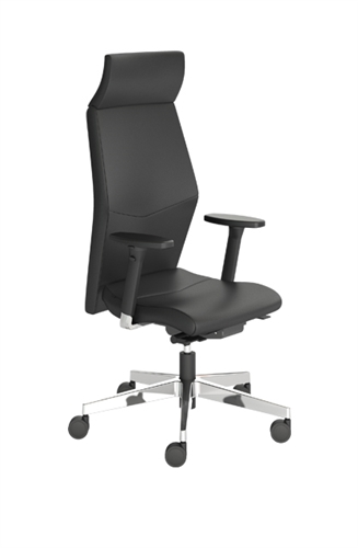 Indiana Furniture Eden High Back Black Leather Office Chair with Adjustable Arms