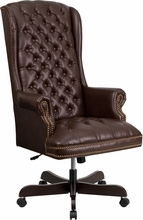 Flash Furniture Traditional Tufted Office Chair in Brown Leather