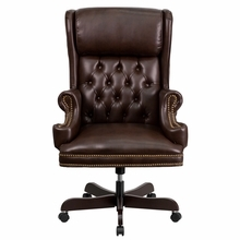 Flash Furniture Tufted Brown Leather Executive Chair with Over Sized Rolled Headrest