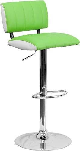 Flash Furniture Two Tone Green and White Vinyl Bar Stool