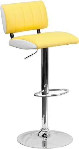 Flash Furniture Two Tone Yellow and White Vinyl Adjustable Stool