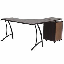 Flash Furniture Walnut Laminate L-Shaped Desk with 3 Drawer Pedestal