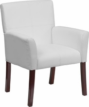 Flash Furniture White Leather Executive Side Chair or Reception Chair with Mahogany Legs