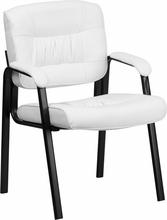 Flash Furniture White Leather Guest / Reception Chair with Black Frame Finish
