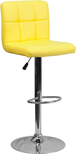 Flash Furniture Yellow Vinyl Bar Stool with Chrome Accents