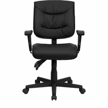 Flash Furniture Ergonomic Leather Task Chair with Adjustable Arms
