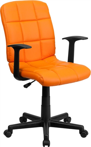 Flash Furniture Orange Vinyl Mid Back Office Chair with Arms