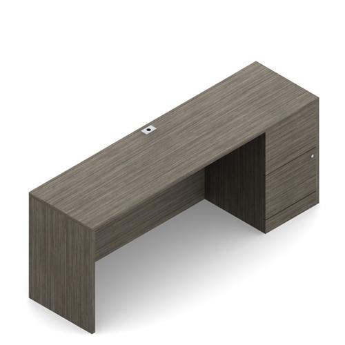 "Global Zira 66"" Executive Credenza Desk with File Pedestal"