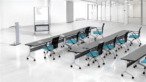 "Mayline 72"" Flip-N-Go Training Room Nesting Table with Silver Base - LF2472"