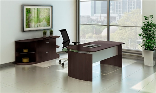 Mocha Laminate Medina Desk with Rear Wall Storage Configuration by Mayline