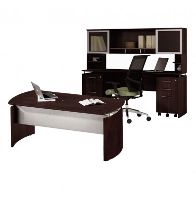 "Mayline 72"" Medina Desk with Hutch, Credenza, and Pedestals MNT38 (5 Finish Options!)"