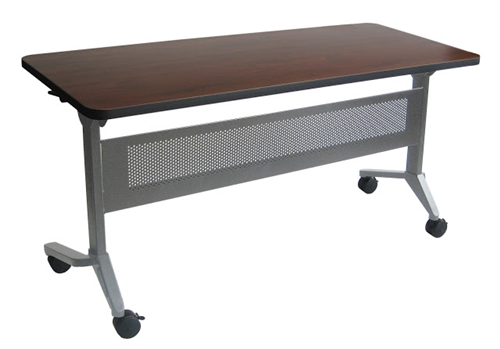 "Mayline 72"" x 18"" Flip-N-Go Nesting Training Table with Silver Base - LF1872"