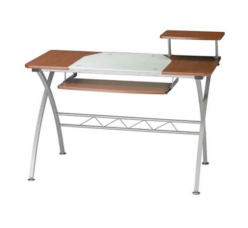 Mayline 972 Vision Series Metal Computer Desk with Cherry Finish and Glass Accents