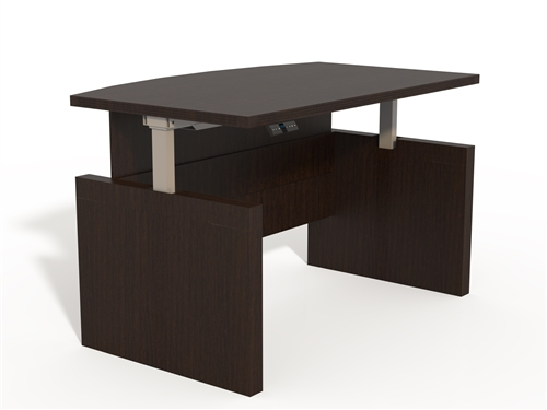 """Mayline Aberdeen 72"""" Height Adjustable Bow Front Desk ABDH7242 (4 Finish Options!)"""