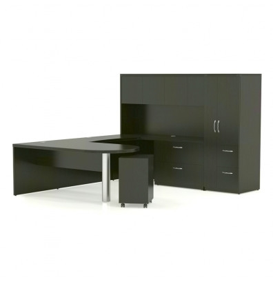 Mayline Aberdeen AT15 Executive U Shaped Desk with Hutch and Wardrobe Cabinet (4 Finishes!)