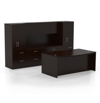 Mayline Aberdeen Bow Front Executive Furniture Set AT8 (4 Finishes!)