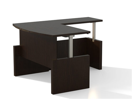 Mayline Aberdeen Ergonomic Bow Front L-Desk AT56 (4 Finish Options!)