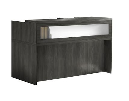 Mayline Aberdeen Gray Steel Finished Small Reception Desk with Glass Transaction Screen