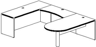 Mayline Aberdeen U Shaped Peninsula Desk AT14 (4 Finishes!)