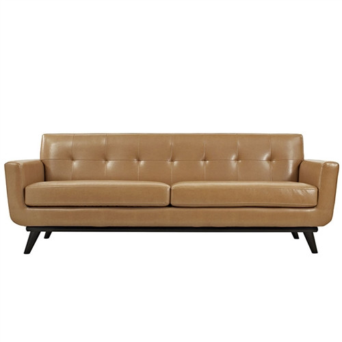 mid century modern tufted fabric sofa