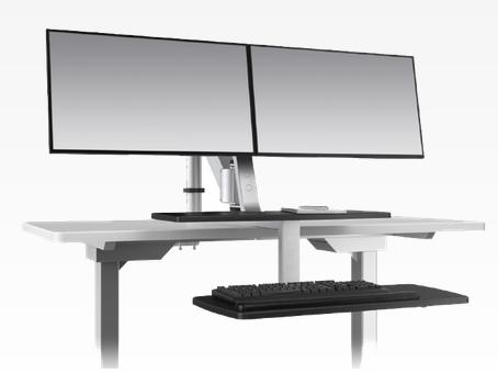 ESI Ergorise Dual Monitor Arm Attachable Sit To Stand Workstation CLIMB2-SLV
