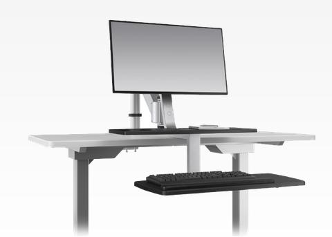 ESI Ergorise Sit To Stand Single Monitor Arm Clamp-On Workstation CLIMB1-SLV