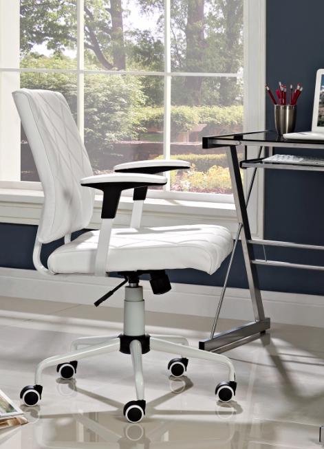 modway white vinyl lattice chair