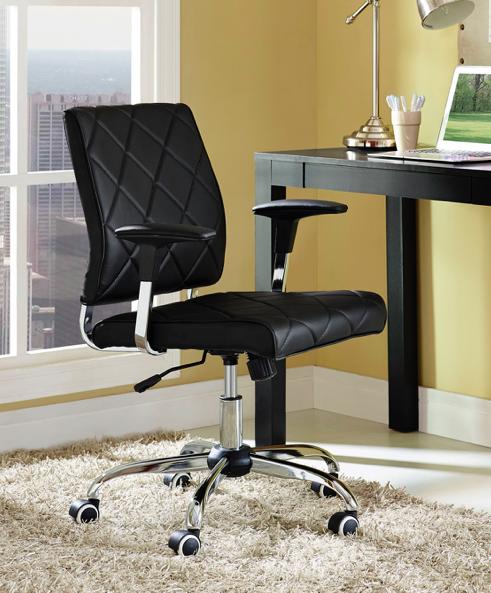 modway black vinyl lattice chair