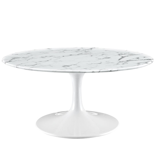 """Modway Lippa 42"""" Oval Shaped Artificial Marble Coffee Table EEI-1140"""