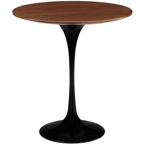Modway Lippa Mid Century Wood Side Table with Black Base