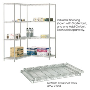 "Safco 36"" x 24"" Wire Shelving Unit 5288GR"