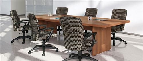 Global 10' Boat Shaped Laminate Conference Table with Modern Style