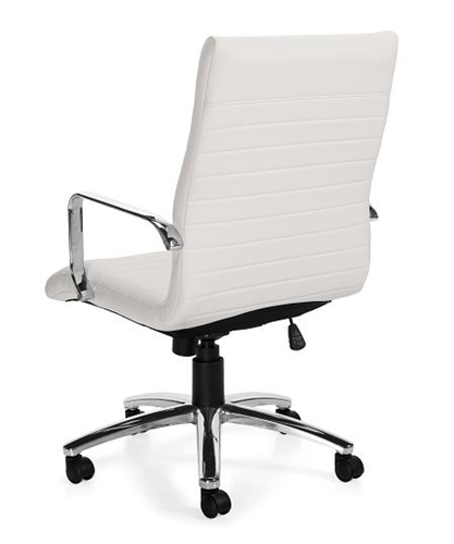 Offices To Go 11730-BL28 White Ribbed Back Executive Chair with Polished Frame