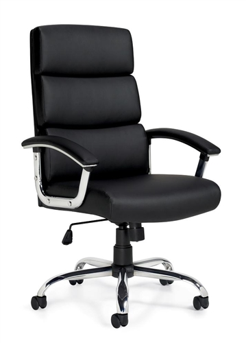 Offices To Go 11858B High Back Black Leather Segmented Cushion Office Chair