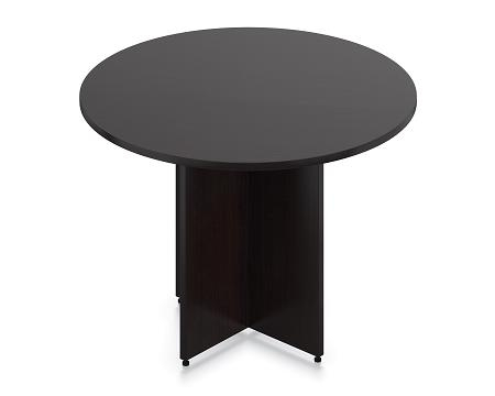 """Offices To Go 42"""" Espresso Round Table with Cross Base"""