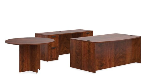 "Offices To Go 71"" Executive Desk with Credenza and Meeting Table in Dark Cherry"