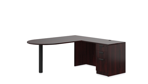 Offices To Go D-Island Desk In Mahogany