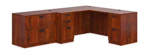 Offices To Go Dark Cherry Superior Laminate Series Corner Desk with File Cabinet
