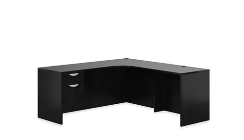 Offices To Go Espresso Corner Desk with Pedestal SL-M-AEL