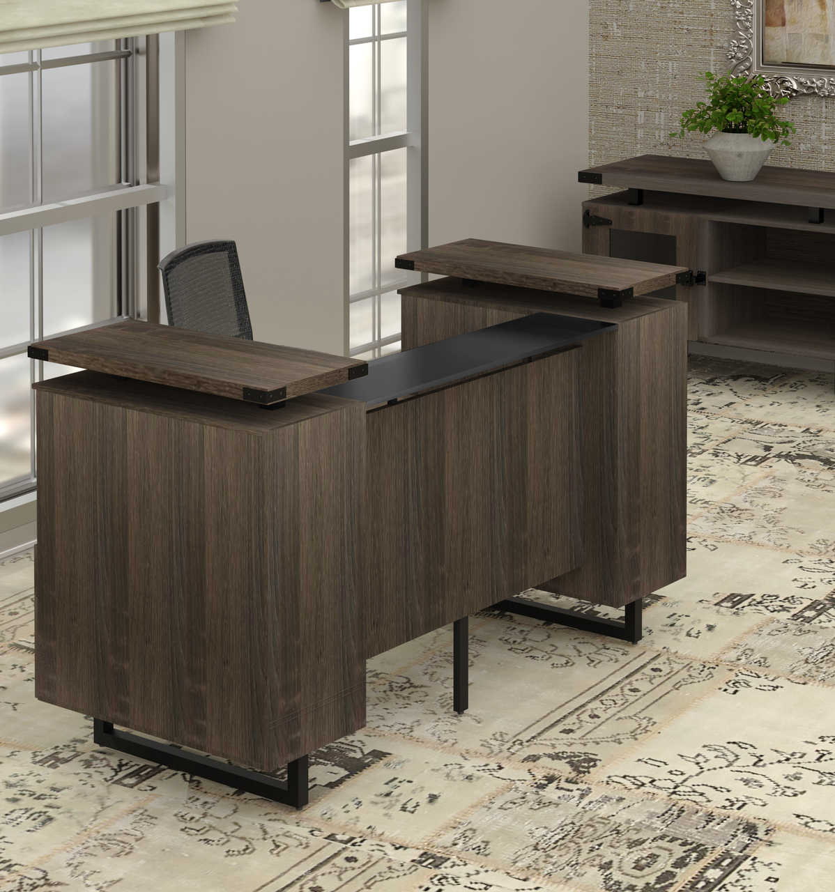 mirella southern tobacco reception desk in room setting