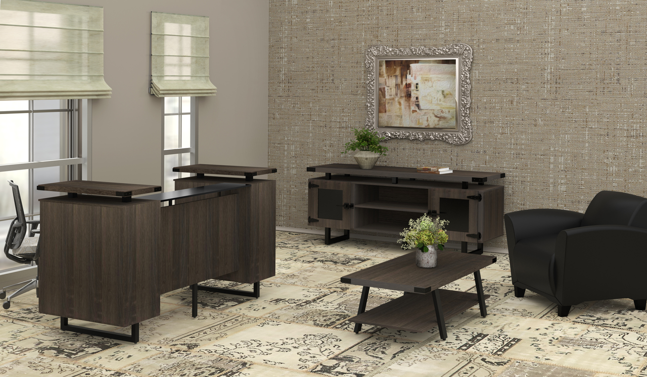 mirella southern tobacco reception desk with accent furniture