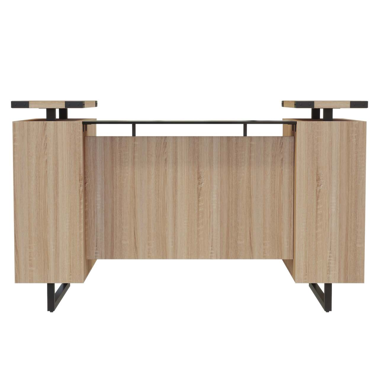 mirella sand dune laminate reception desk front view