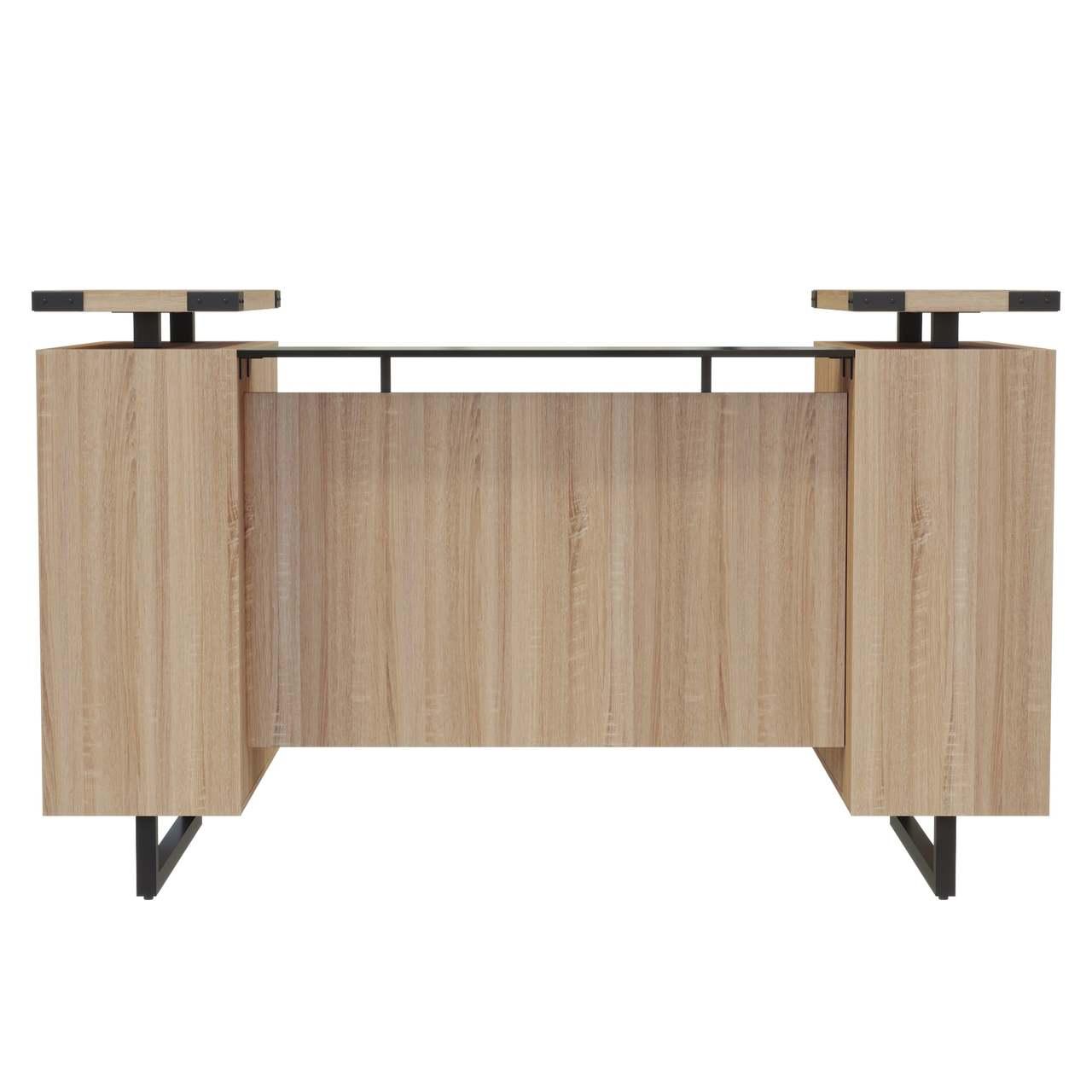 mirella sand dune laminate reception desk front view