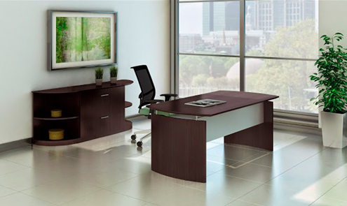 """Mayline Medina 72"""" Desk with File Cabinet and Bookcases"""