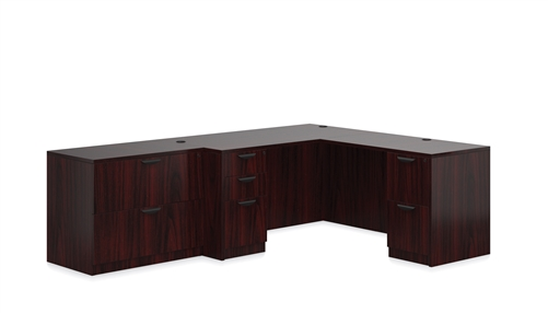 Offices To Go Mahogany Corner Desk and Full Sized Lateral File Cabinet