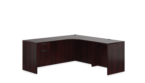 Offices To Go Mahogany Corner Desk with Suspended Pedestal