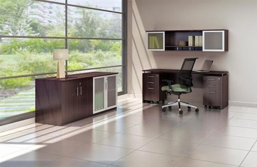 medina credenza desk set in mocha
